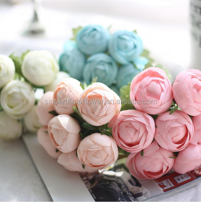 Artificial wedding supplies hand tied bouquet flower Candy color round lotus flower artificial wedding flower