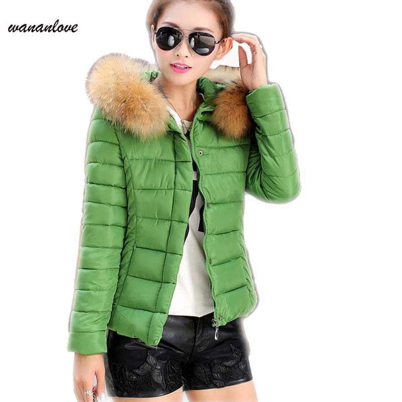 Winter Coat Women Hot Sale Cotton Down Zipper Broadcloth Full Solid New 2015 Women Down Jacket Slim With Fur Hood Parka AA335
