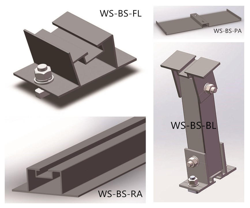 5 KW lightweight  ballasted mounting system roof solar pv bracket