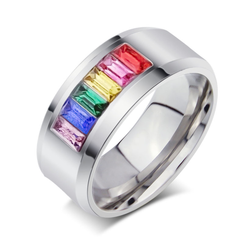 Stainless Steel Rainbow Jewelry Gay Men Ring Purity Love Wholesale