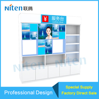 Trade Show 180*40*240CM Demensions 4 Tier Wall Display Standing Racks With LED Light