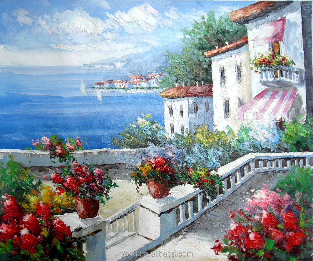 Guangzhou Manufacturer directly provide landscape oil painting,mediterranean landscape painting