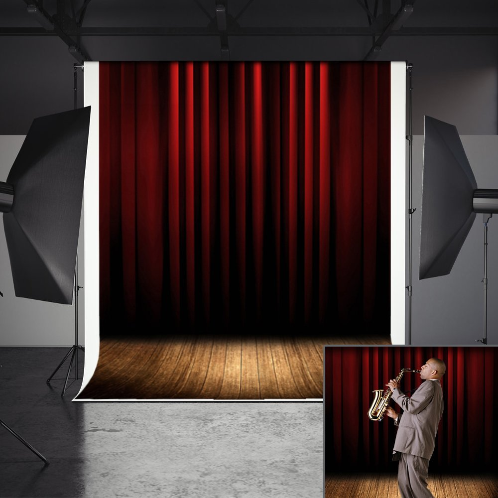 MeeQee 5ft(W)x7ft(H) Photography Background, Red Curtain and Wooden Floor Stage Scene Backdrops, Studio Props Photo Backdrop for Photo Video, MQ-CO4