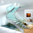 Morden Steel Arc Curved Staircase with Glass Steps and Installed with LED Light