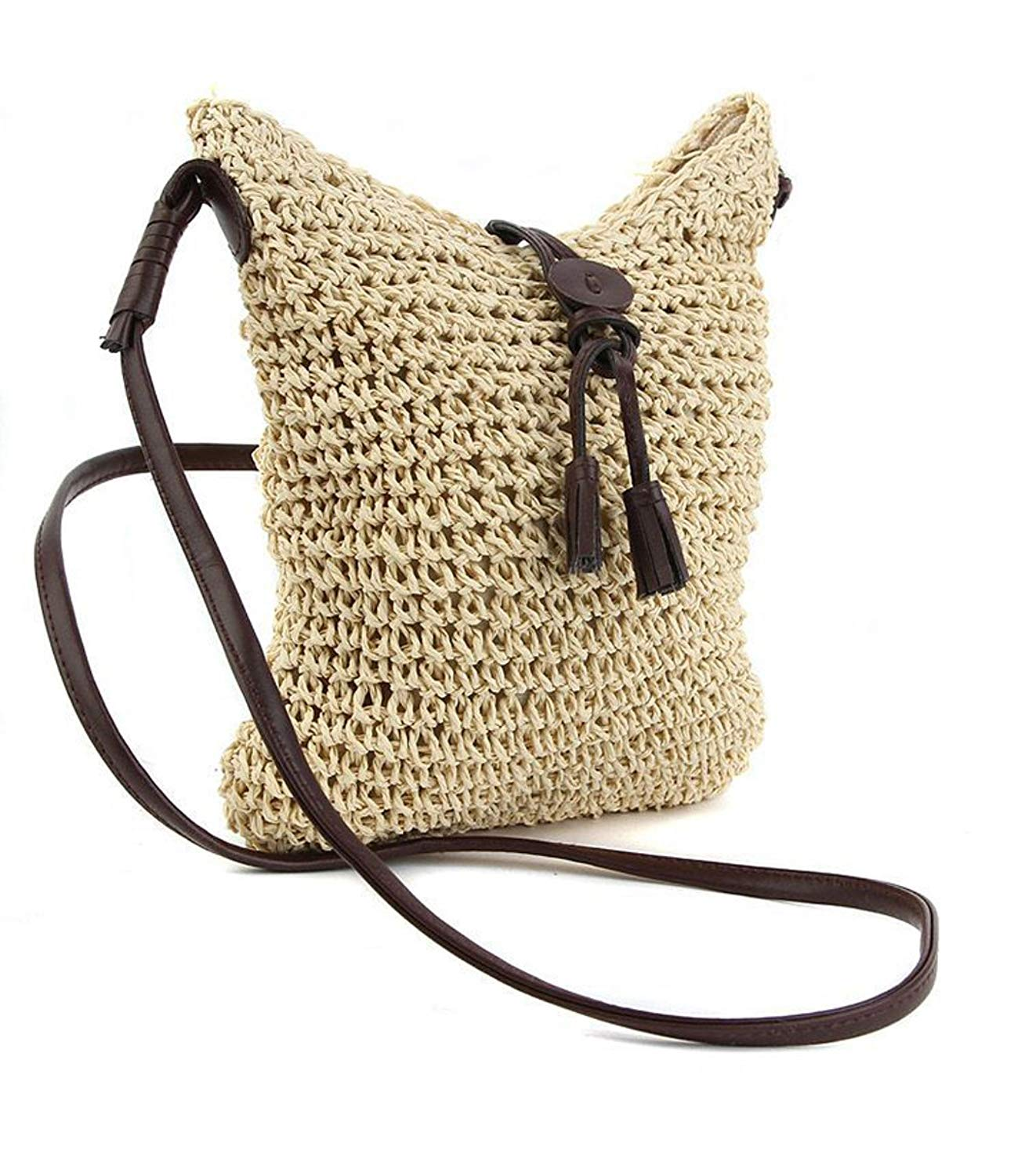 eb036971239a Get Quotations · Straw Crossbody Bag Womens Weave Shoulder Bag Summer Beach  Purse and Handbags