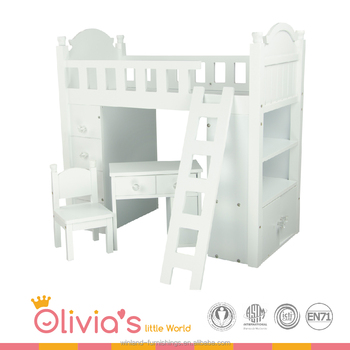 Olivia S Little World Princess White Bunk Bed Wooden 18 Inch