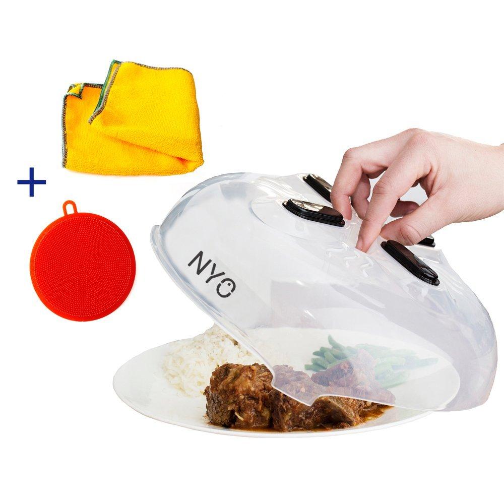 Magnetic Microwave Splatter Lid , Magnetic Microwave Hover Cover , Large Magnetic Microwave Plate Cover , Microwave Magnetic Splatter Guard , Included 2 Bonuses - Better Sponge + Kitchen Towel
