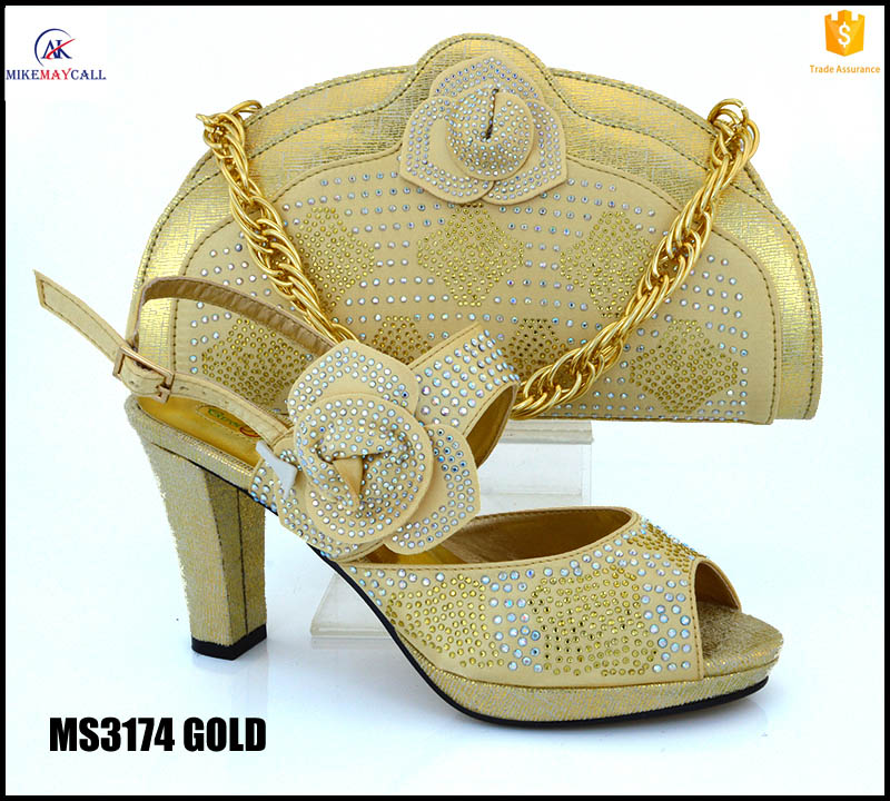 MS3174 Gold Nigerian party dress shoes and matching bag set summer crystal high heels with clutch bags