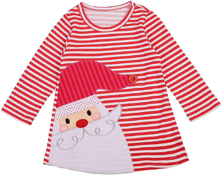 1f0b54bdf69b4 Get Quotations · BluNight Collection Little Girl Dress Kids Striped Santa  Claus Christmas Cotton Holiday Girl Dress