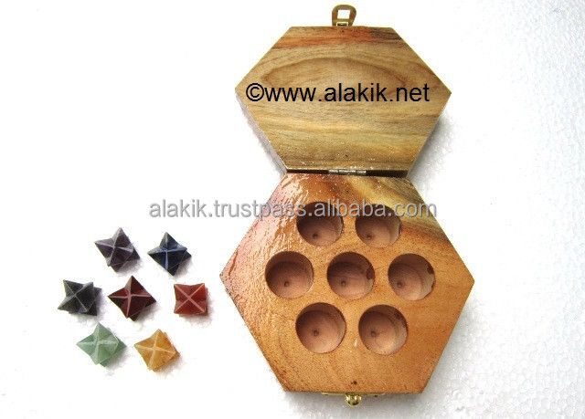 7 Chakra Merkaba Star With Hexagonal Wooden Box : Spiritual ...