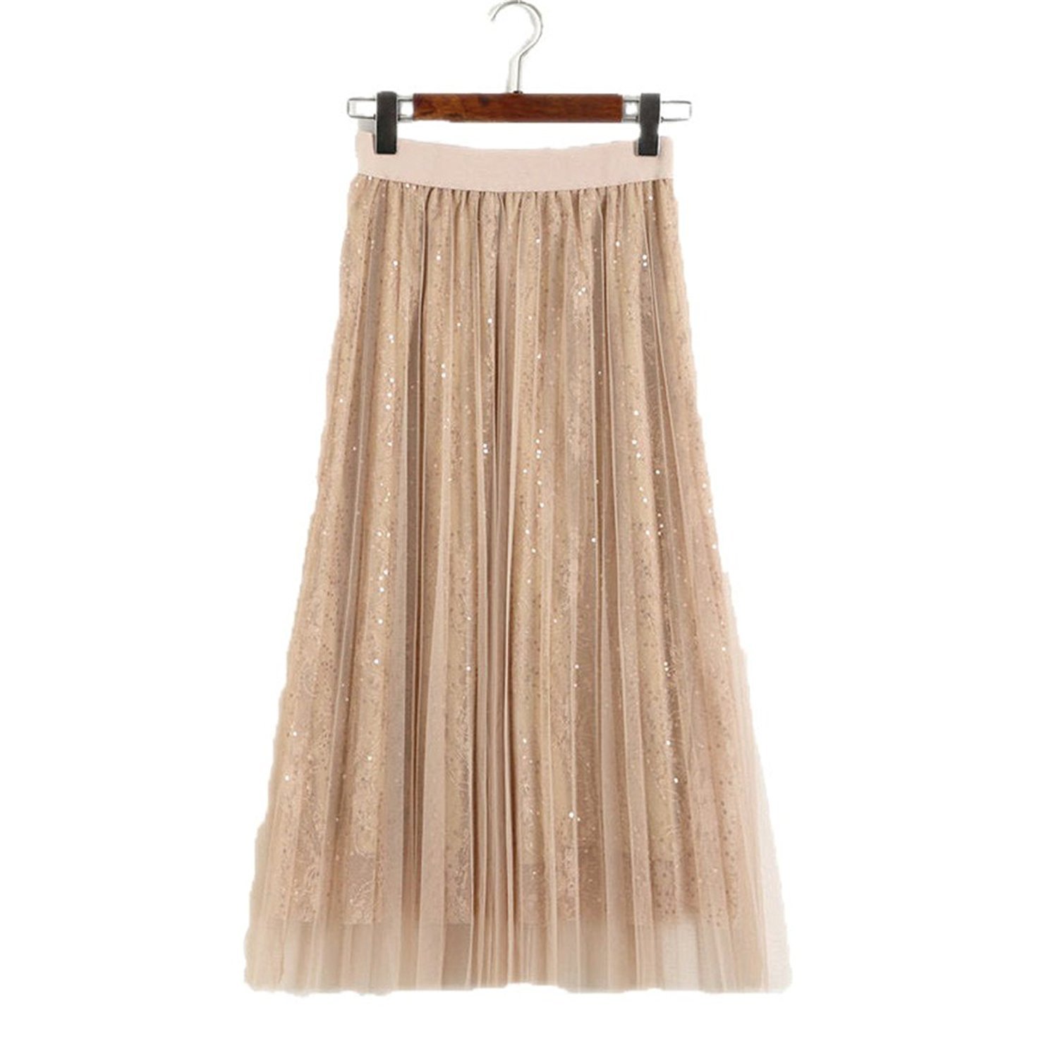 d69be36af Get Quotations · BRLLY Layered Mesh Long Pleated Skirt High Waist Stretch A  Line Sweet Pleated Pleated
