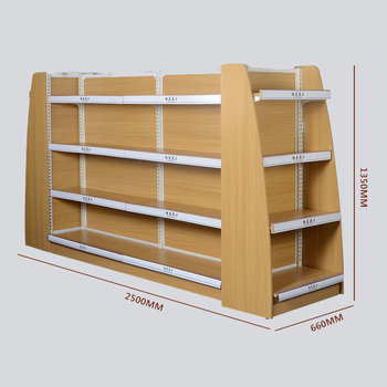 Double Side Adjustable Commercial Wood Supermarket Gondola Shelving