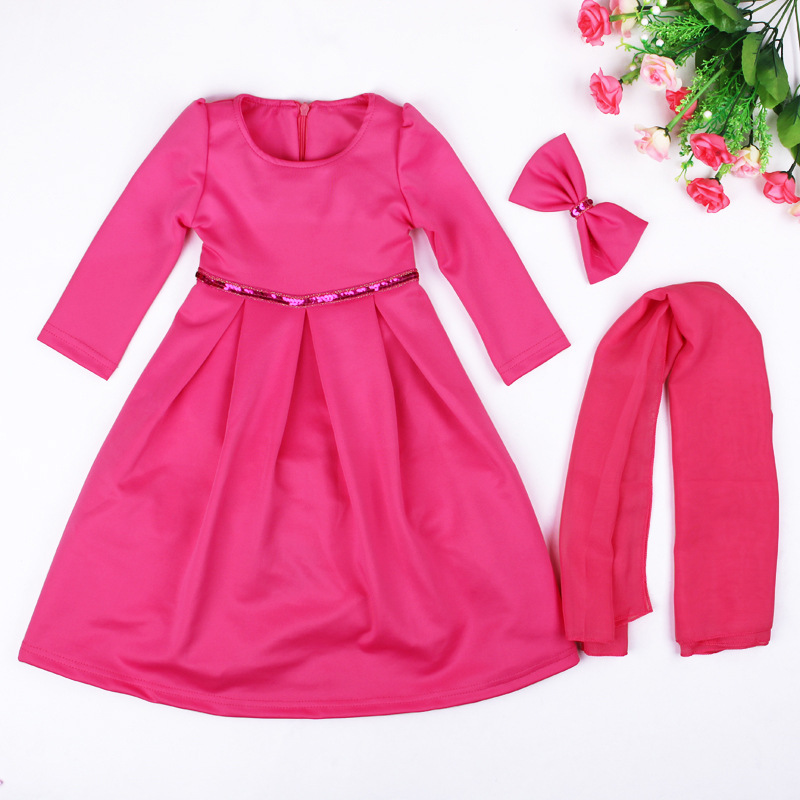 Abaya Dubai Wholesale Children Girl Muslim Long Dress With Hijab