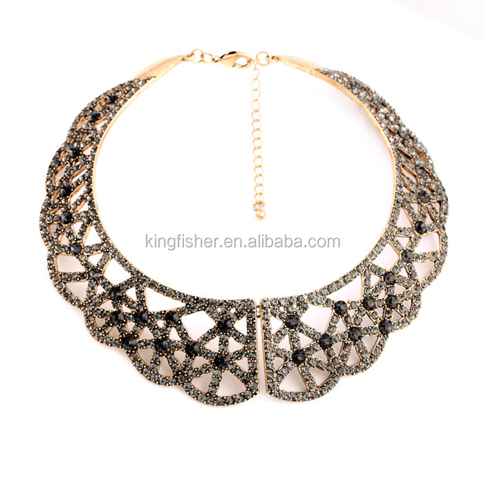 New style vintage jewelry crystal pave alloy collar necklace for women Handmade high quality collar necklace wholesale