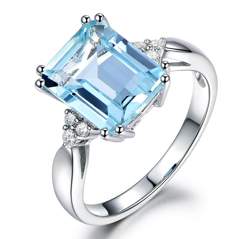 Fashion Women Jewelry 18k Silver Plating Blue Diamond Engagement Wedding Ring Buy Turquoise Diamond Engagement Ring Old Fashioned Wedding Rings 8k