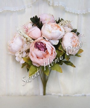 Sweet Home Deco 18\'\' Super Soft Blooming Peonies And Hydrangeas Silk ...