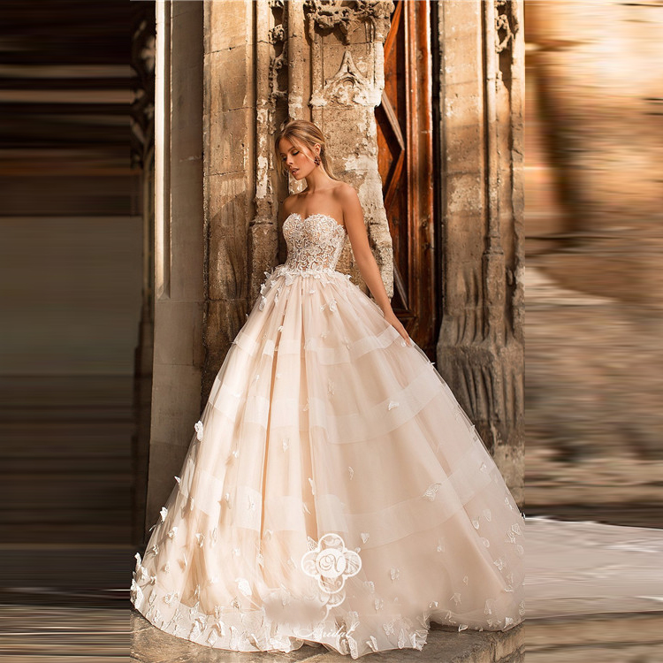 Sweetheart Champagne Vintage Angel Wedding Dress 2018 With Fl Bridal Gown