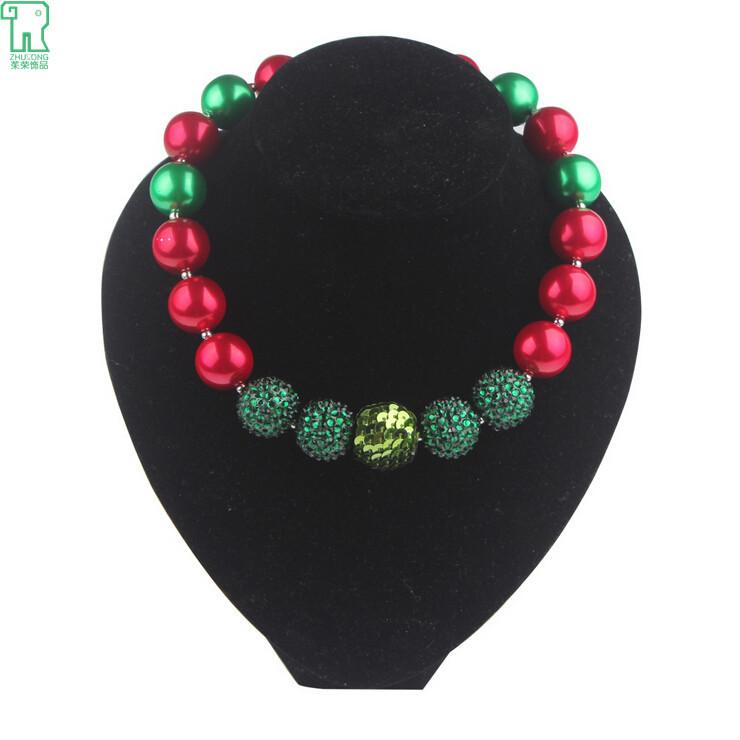 Girls Christmas Style Chunky Bubblegum Beaded Necklace Kids Chunky Acrylic Bead Necklace 2015 New Children's jewelry