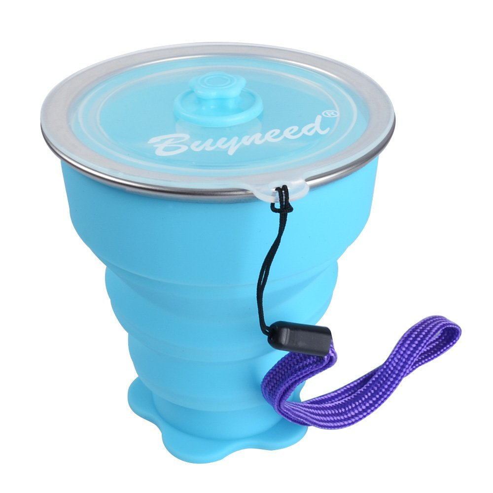 BUY NEED Folding Collapsible Cup with lid Travel Camping Mug Silicone BPA-Free Dishwasher Safe Pop Up Cup-Hiking-Mug for Outdoor Activities-Easy Storage-Best Eco-friendly