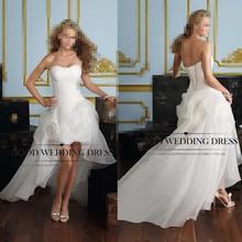 vestido de noiva 2015 Newest Free Shipping Women Sweetheart Beading Front Short Back Long White / Ivory Wedding Dresses