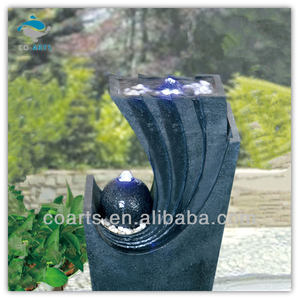 2013 new design garden decoration outdoor water fountain with ball and light