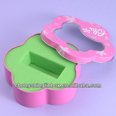 Flower shaped gifts packaging tin box for female