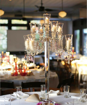 9 Arm Crystal Glass Hurricane Candelabra Wedding Center Pieces Table  Decoration