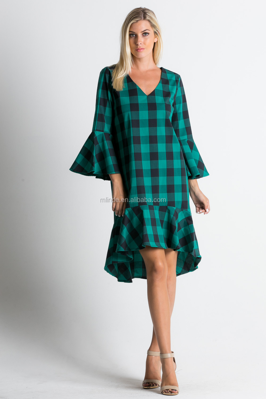 Fashion Dress 2017 Women Clothing Ruffle Hem Accent Plaid Print Midi ...