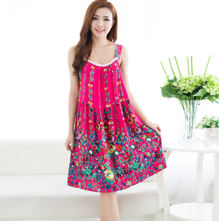 552812d0cf 2015 Women summer floral plus size cotton nightgowns sleeveless sleepshirt  knee-length nightdress casual night