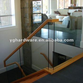 Glass Stair Railing And Wood Handrail B1192