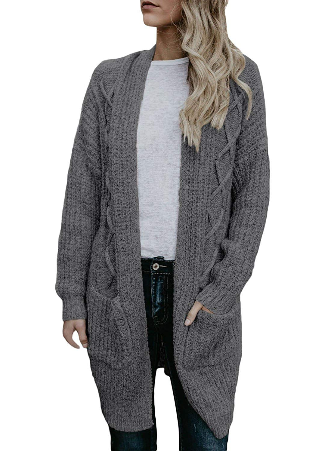 0783896c46 Get Quotations · Heymiss Womens Cardigan Open Front Chunky Cable Knit  Sweater with Pockets