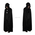 Black Halloween Costume Theater Prop Death Hoody Cloak Devil Long Tippet Cape Fancy Cosplay Role Play