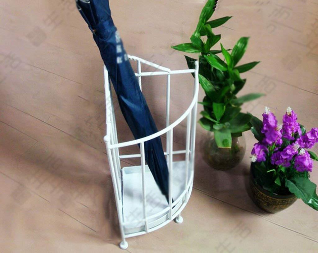 Color : White LPYMX Creative Wrought Iron Umbrella Bucket Floored Umbrella Storage Rack