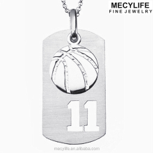 MECYLIFE stainless steel basketball pendant necklace balls charms dog tag