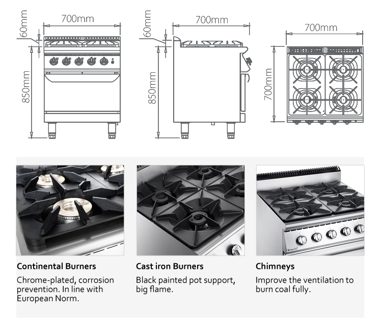 F9080GGR Quality Guarantee Professional 4 Burner Gas Food Cooker Machinery with Oven Series Stove