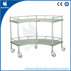 China BT-SIT001 hospital stainless steel fan shaped operation apparatus table/instrument trolley with wheels