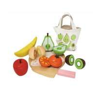 Fast food play set educational wooden cutting fruit vegetables toy