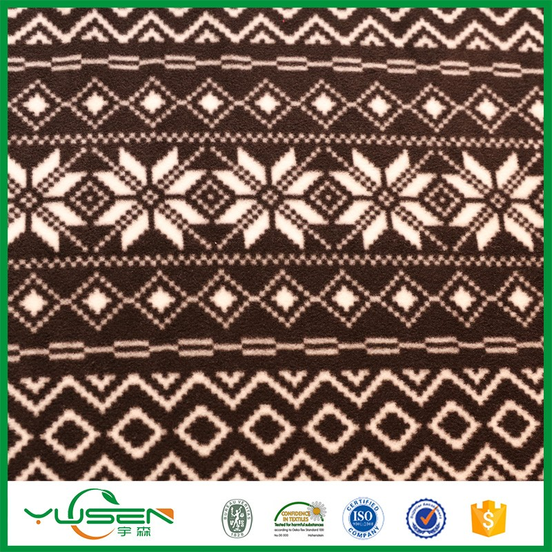 100% Polyester Weft Knitted Printed Polar Fleece Fabric for Blanket, anti-pilling & anti-static function