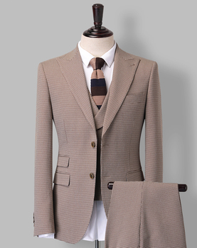 Men 3 pieces elegant 100% wool modern business formal dress suit