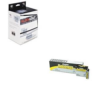 KITEVEEN91REARR1305 - Value Kit - Read Right Kleen amp;amp; Dry Screen Cleaner Wet Wipes (REARR1305) and Energizer Industrial Alkaline Batteries (EVEEN91)