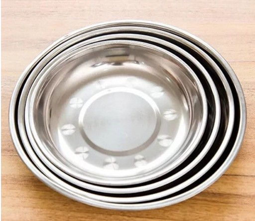 Stainless steel round shallow flat plate for eating fruit small dish, dishes barbecue plate