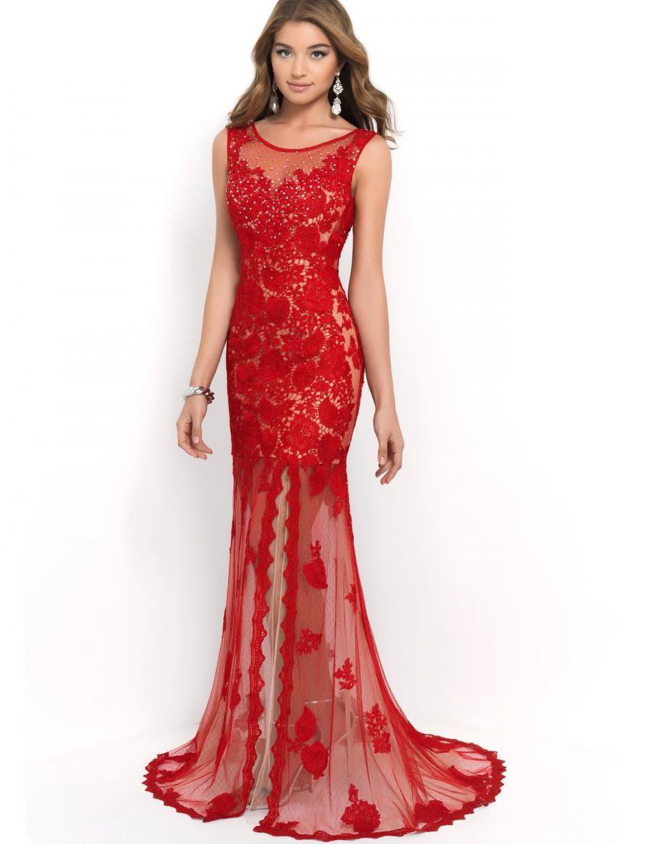 Buy Scoop Lace Leg Slit Floor Length Long Beautiful Red Mermaid V ...