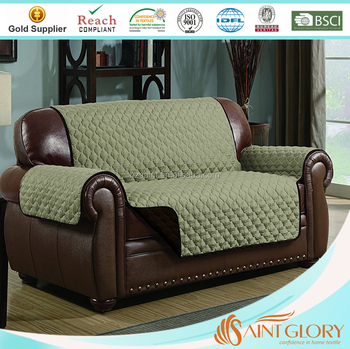 Saint Glory Microfiber Furniture Protector Quilted Reversible Couch Covers  Elegant Sofa Cover With Back Elastic Strap