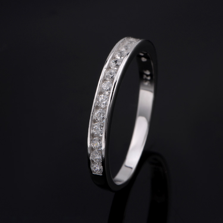 Women luxurious white silver plated cubic zirconia infinity love eternity ring