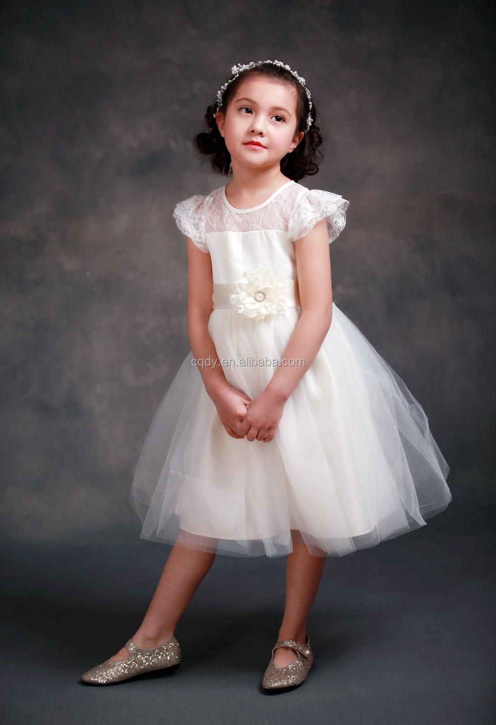Weiße Kleider Für Hochzeit Kleider Flügelärmeln Spitze Schärpe Bogen  Mädchen Geburtstagsparty Kleid Reißverschluss Tüll Blumenmädchen Kleid -  Buy