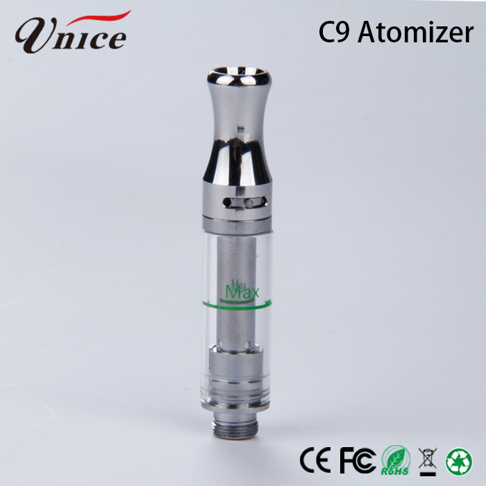 Gold Plated Metal 510 Thc C9 Atomizer Ceramic Glass Cbd Oil 1ml Pen Vape Cartridges with Pp Tube
