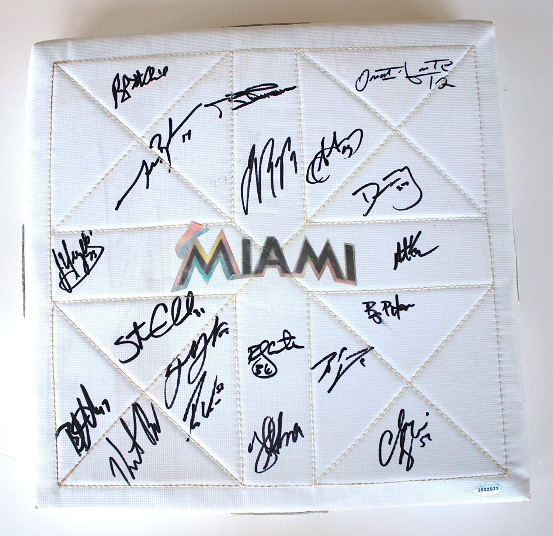 Miami Marlins 2012 Team Autographed Signed MacGregor Baseball Base Reyes Johnson