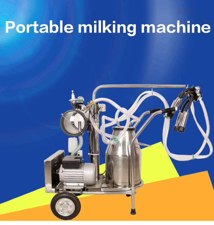 Double Bucket Portable Diesel Engine Cow/Goat Milking Machine for Dairy Farm