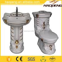 Classic decorative ceramic bathroom three sets toilet basin bidet combination