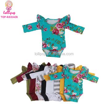 2e217b9ba6d6 Newborn Baby Girl Clothes Floral Toddler Flutter Sleeve Onesie ...